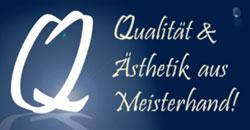 """Grafik mit der Aufschrift """"Qualität & Ästhetik aus Meisterhand"""" im Zahnwerk Düsseldorf."""